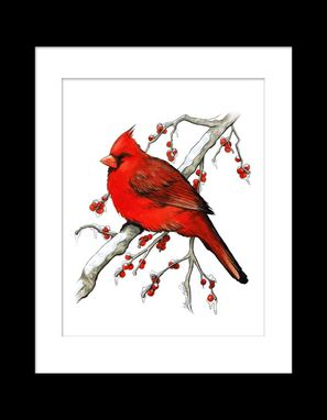 Custom Made Winter Cardinal Watercolor And Ink Print