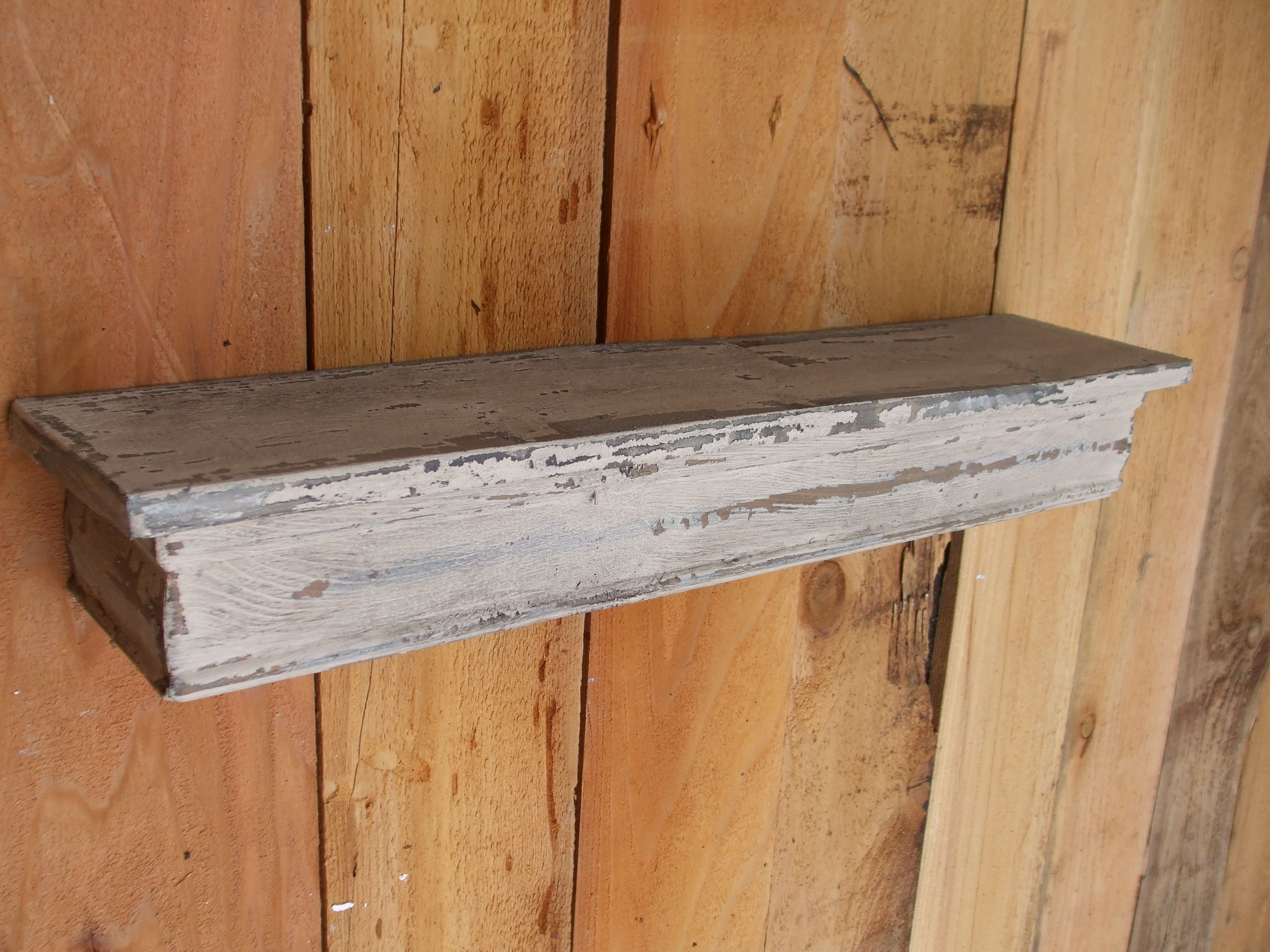 Custom Made Floating White Shelf Wall French Country Shabby Chic Distressed