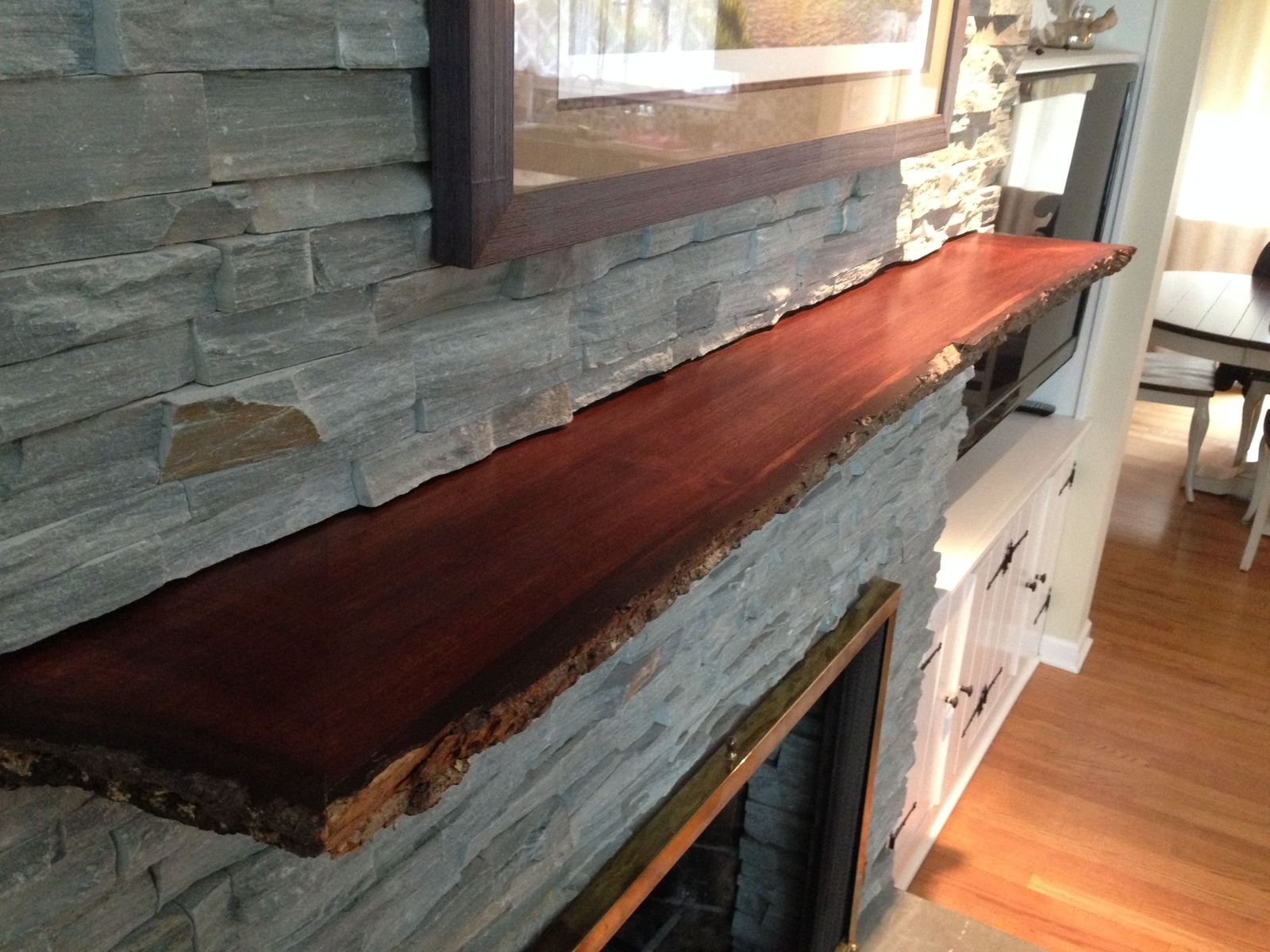 Hand Crafted Live Edge Slab Fireplace Mantle By MAD Woodwork