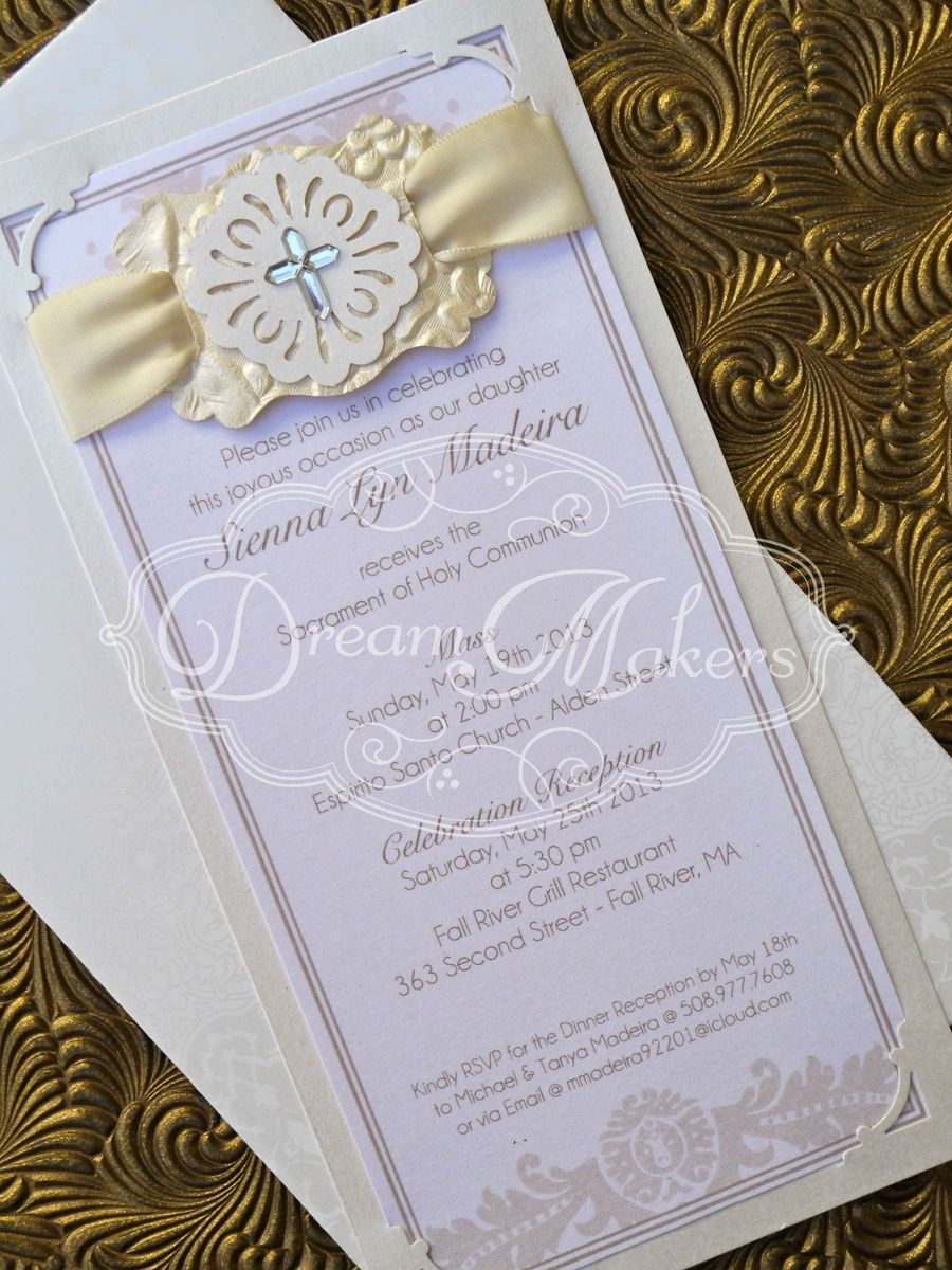 hand crafted baptism invitation by laura di carlo