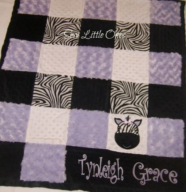 Custom Made Lavender Zebra Print Personalize Patchwork Baby Blanket