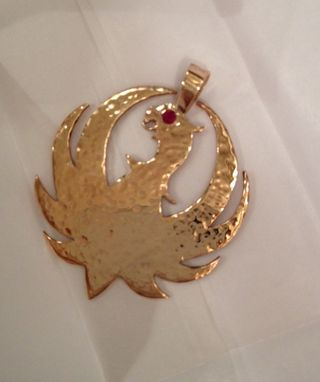 Custom Made Hank Williams Jr. Ruger Pendant In Gold With Ruby