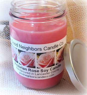 Custom Made Soy Candle,Victorian Rose,12 Ounce Jelly Jar With Silver Lid,Pink,Floral,Hemp,Cotton/Wood Wick