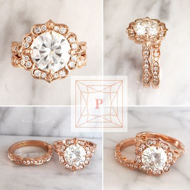 Custom Made 9mm Round Forever Brilliant Moissanite Bridal Engagement Set In 14k Rose Gold W/ Diamonds