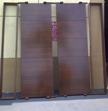 Custom Made Contemporary 9' Ft Solid Mahogany Exterior Doors With Mahogany Sidelights