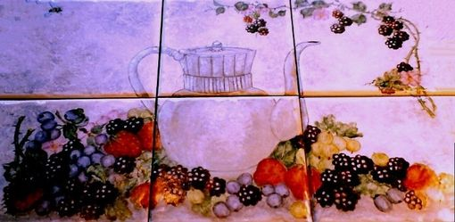 "Custom Made ""Teapot And Berries"" On Ceramic Tile"