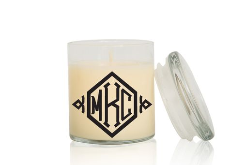 Custom Made Monogram Candle | Font: Diamond | Large Creme Brulee/Vanilla Scented Candle