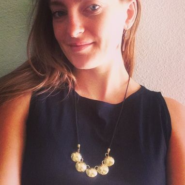 Custom Made Bib Necklace - Yellow Brass Bib Collar Necklace - Faux Gold Bib Statement Necklace