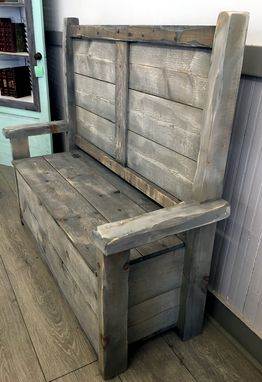 Custom Made Rustic Reclaimed Wood Bench With Storage