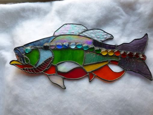 Custom Made Rhode Island Rainbow Large Mouth Bass Stained Glass Art