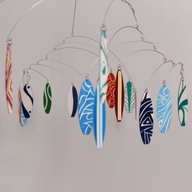 Custom Made Surfboard Mobile For The Laid Back Soul - Hand Painted  Wire Mobile