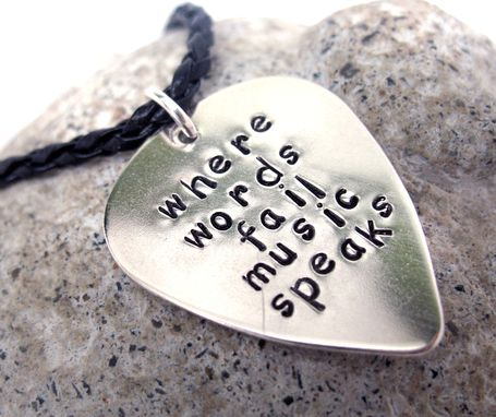 Custom Made Custom Sterling Silver Guitar Pick Pendant, Stamped Or Engraved With Your Personalized Quote