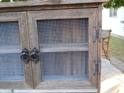 Custom Made Barnwood Cabinet With Cubbies
