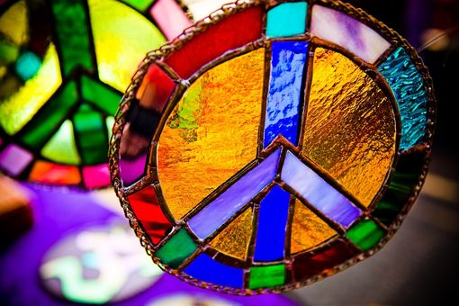 Custom Made Technicolor Stained Glass Peace Sign