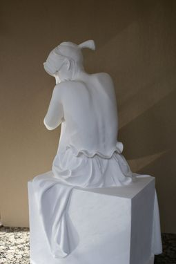 Custom Made Sculpture Of Young Girl Sitting On Cube, Nude Draped In Fabric