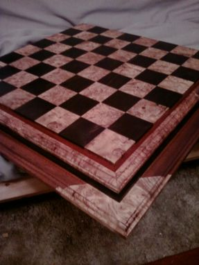 Custom Made Ebony, Maple Burl, Mahogany, And Padouk Chess Board