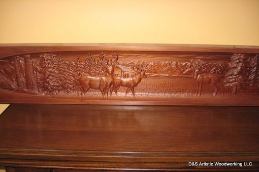 Custom Made Carved Fireplace Mantel Insert With Deer