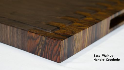 Custom Made Cherry And Walnut End Grain Cutting Board, Handmade And Reversible