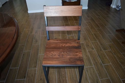 Custom Made Walnut And Steel Dining Chairs
