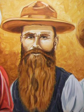 Custom Made Acrylic On Board Portrait For A Mural: Cowboys 8