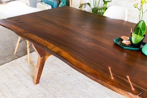 Hand Made Claro Walnut + Copper Live Edge Midcentury Modern Dining ...