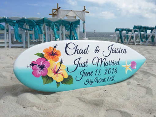 Custom Made Beach Hawaiian Wedding Photography Decor, Hibiscus Just Married Sign.