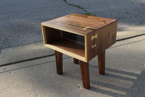 Custom Made Mid Century Modern Walnut Bedside Nightstand