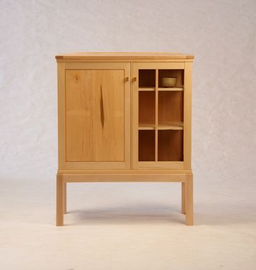 Custom Made Maple On Maple Half-Glass Liquor Cabinet