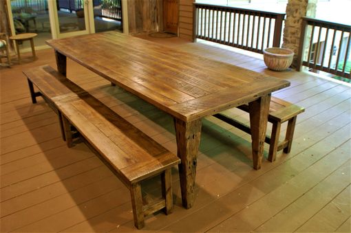 Custom Made Reclaimed Hand Hewn Tapered Leg Farm Table With Bench Set