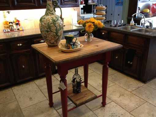Custom Made Kitchen Island Of Reclaimed Wood