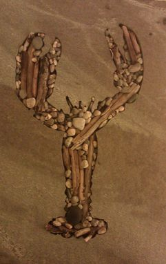 Custom Made Stone Lobster With Pebbles And Driftwood