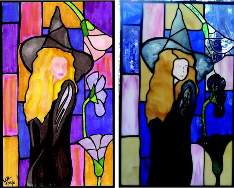 Custom Made Witch - A Stained Glass Piece Made To Copy A Painting