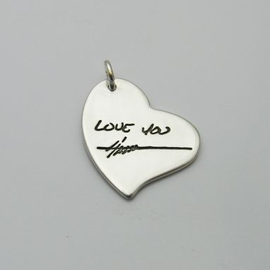 Custom Made Hammered Silver Heart Pendant With Your Actual Handwriting