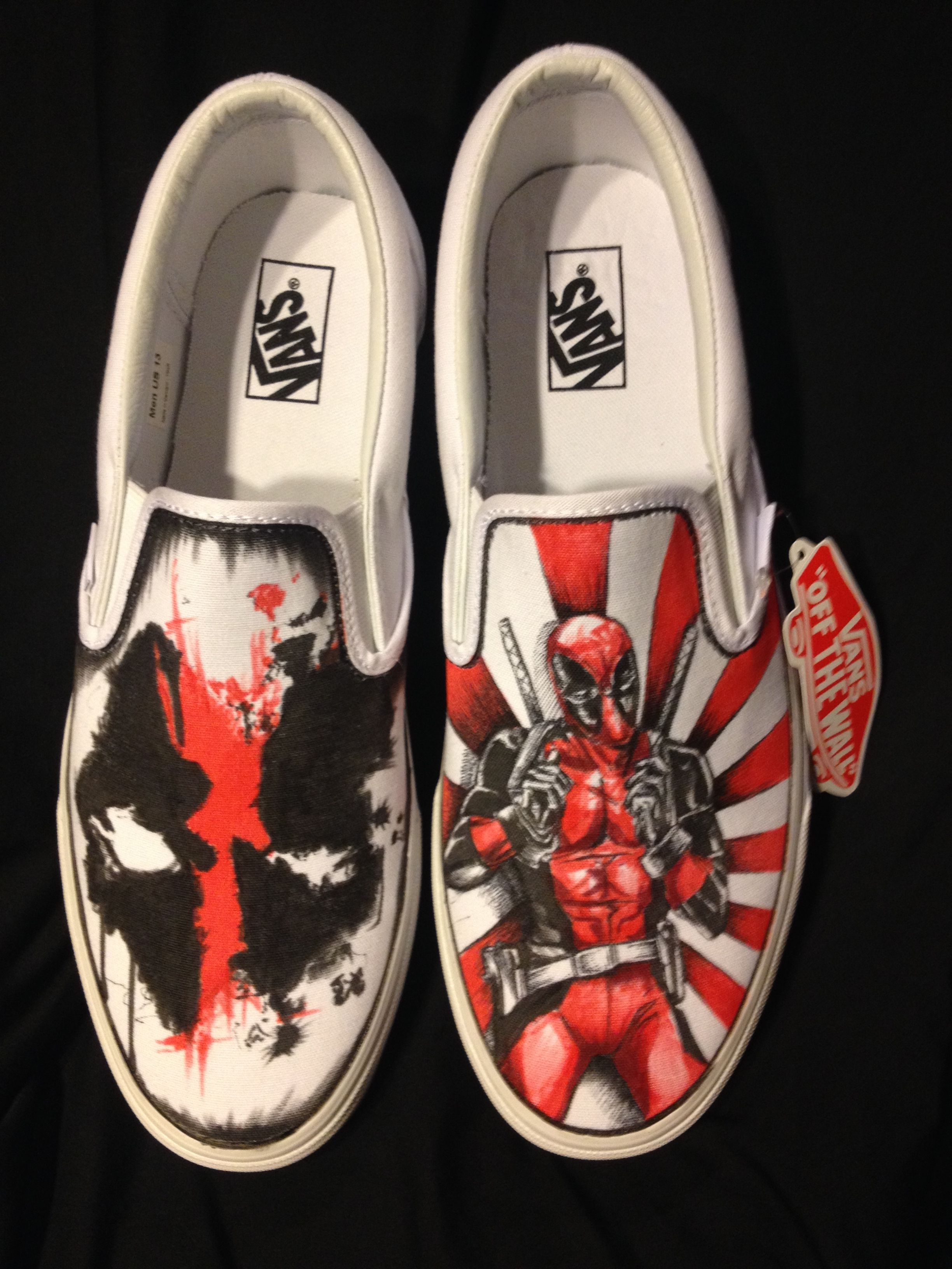 Chic Bedroom Buy Hand Made Hand Drawn Deadpool Custom Shoes Made To