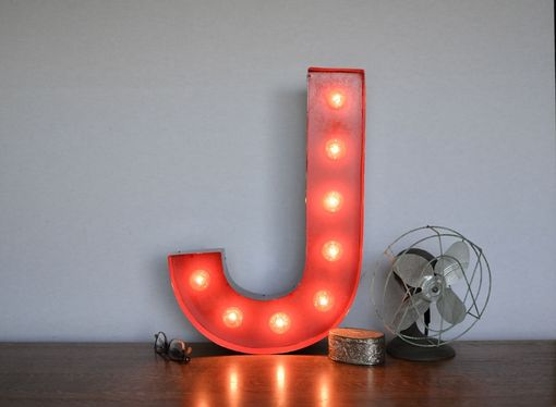 Custom Made Vintage Inspired Marquee Light- Letter J- Color Fire Engine