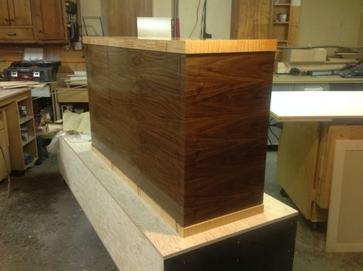 Custom Made Walnut Plain Slice Horizontal Grain Living Room Console