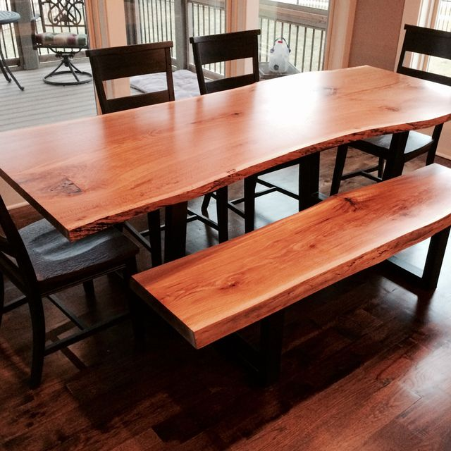 Custom Live Edge Dining Room Table And Bench