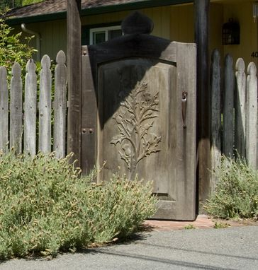 Custom Made Hand-Carved Gate And Fence