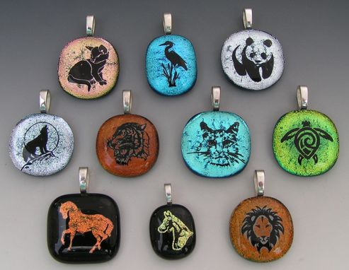 Custom Made Laser Etched Animal Dichroic Fused Glass Pendants