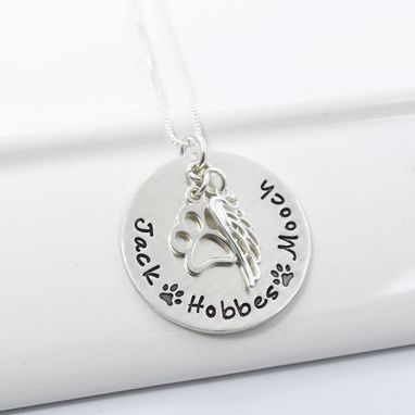 Custom Made Dog Memory Necklace With Paw Charm And Wing