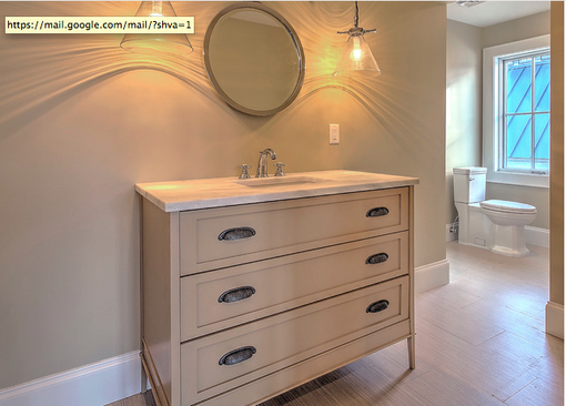 Custom Made Floating Vanity, Mirror Frame And Side Cabinets