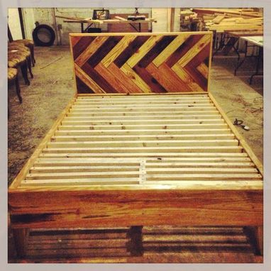 Custom Made Herringbone Style Headboard / Platform Bed