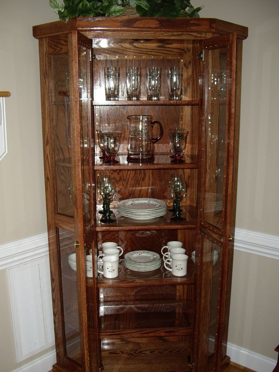 Custom qak corner china cabinet by d n yager woodworks for Corner cabinet