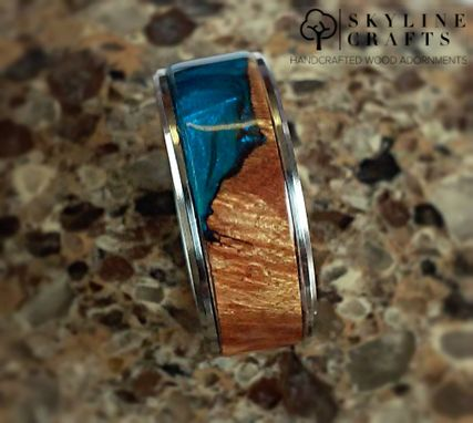 Custom Made Maple Cast Wood Resin Hybrid Ring. 316 Stainless Or Titanium Core.