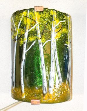 Custom Made Aspen Grove Fused Glass Sconce