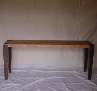 Custom Made Cherry And Steel Side Table