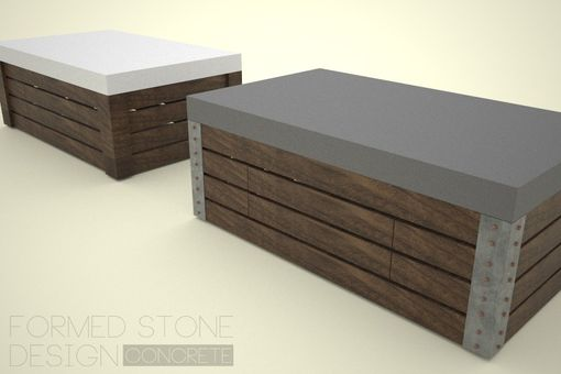 Custom Made Coffee Table 11: Concrete, Wood, & Steel