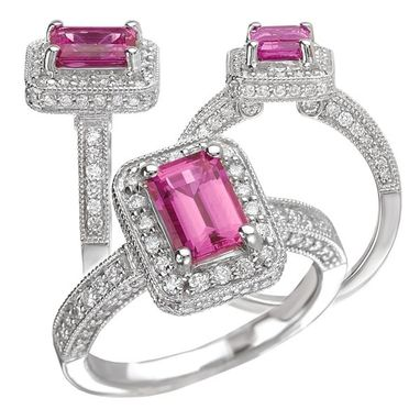 Custom Made 18k Chatham 7x5mm Emerald Cut Pink Sapphire Engagement Ring With Natural Diamond Halo