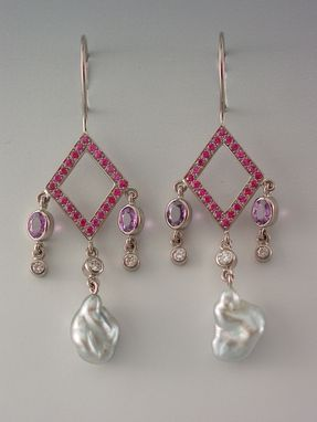 Custom Made Earrings Made From 18kt Palladium White Gold, Pink And Lavendar Sapphires, Diamonds, Natural Tahitian Keshi Pearls