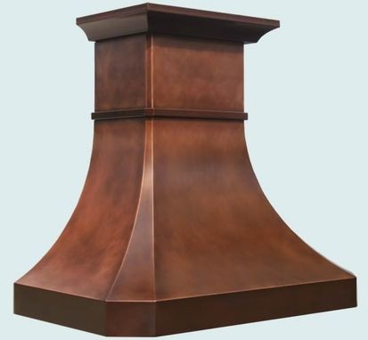 Custom Made Copper Range Hood With Stack & Crown